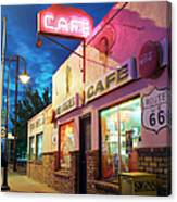 Diner Along Route 66 At Dusk Canvas Print