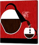 Diner Coffee Pot And Cup Red Pouring Canvas Print