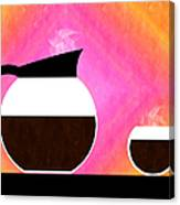 Diner Coffee Pot And Cup Sorbet Canvas Print