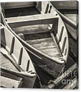 Dinghies Dockside Bw Canvas Print