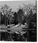 Dinghies Resting Tide Creek Black And White Canvas Print