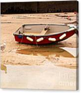 Dinghy At Low Tide In St Ives Cornwall Canvas Print
