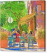 Dinner On The Terrace Le Murphy Boire Et Manger French Bistro Montreal Cafe Street Scene Canvas Print