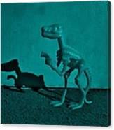 Dino Dark Turquoise Canvas Print