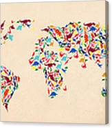 Dinosaur Map Of The World  Canvas Print