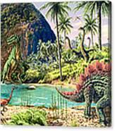 Dinosaur Volcanos Canvas Print