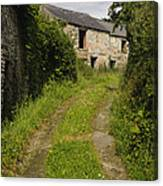 Dirt Path To Stone Building Canvas Print