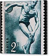 Discus Vintage Postage Stamp Print Canvas Print