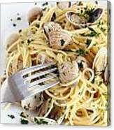 Dish Of Spaghetti With Clams Canvas Print