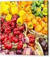 Display Of Fresh Vegetables At The Market Canvas Print