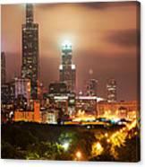Distant Lights - Chicago Illinois Skyline Canvas Print