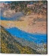 Distant Mountains - Digital Impression Paint Canvas Print