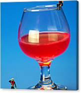 Diving In Red Wine Little People Big Worlds Canvas Print