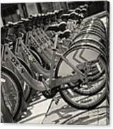Divvy Bikes In Line Canvas Print