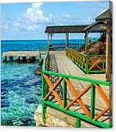 Dock And Tropical Water Canvas Print