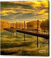Dock Reflections-golden Canvas Print