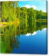 Dock On Mountain Lake Canvas Print