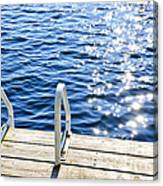 Dock On Summer Lake With Sparkling Water Canvas Print