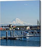 Dock View Of Mt. Rainier Canvas Print