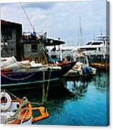 Docked Boats In Newport Ri Canvas Print