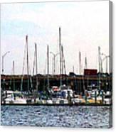 Docked Boats Norfolk Va Canvas Print