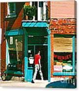 Documenting Vintage Montreal Depanneur Deli Wilensky Montreal Restaurant Paintings Cspandau  Art Canvas Print