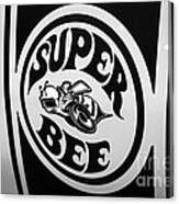 Dodge Super Bee Decal Black And White Picture Canvas Print