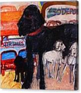 Dog At The Used Car Lot, Rex Gouache On Paper Canvas Print