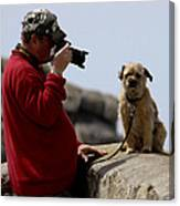 Dog Being Photographed Canvas Print