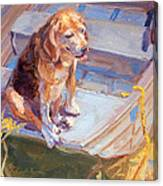 Dog On Boat Canvas Print
