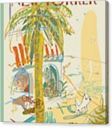 Dog Walking Under A Palm Tree Canvas Print