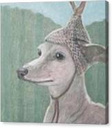 Dog With Antlers Canvas Print