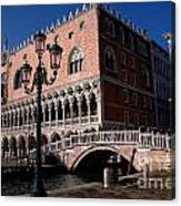 Doges Palace With Bridge Of Sighs Canvas Print