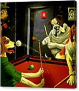 Dogs Playing Pool Wall Art Unknown Painter Canvas Print