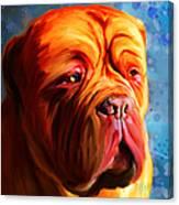 Vibrant Dogue De Bordeaux Painting On Blue Canvas Print
