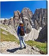Dolomiti - Hiker In Sella Mount Canvas Print