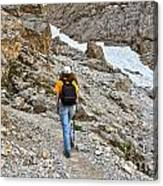 Dolomiti - Hiker In Val Setus Canvas Print