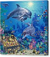 Dolphin Family Variant Canvas Print