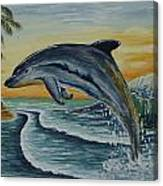 Dolphin Jumping Canvas Print