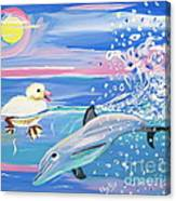 Dolphin Plays With Duckling Canvas Print