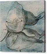 Dolphins Duo Underwater Art Cathy Peek Canvas Print