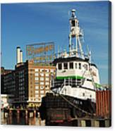 Domino Sugars Baltimore With A Boat Canvas Print