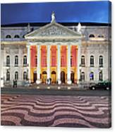 Dona Maria II National Theater At Night In Lisbon Canvas Print