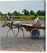 Donkey Cart Driver And Motorcycle On Pakistan Highway Canvas Print
