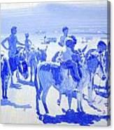 Donkey's On The Beach Canvas Print