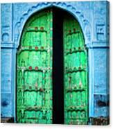 Door In The Blue City - Jodhpur, India Canvas Print