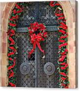Door With Christmas Decoration  Canvas Print