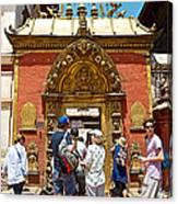 Doorway In Bhaktapur Durbar Square In Bhaktapur-nepal Canvas Print