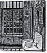 Dormer Bathroom Side View Bw Canvas Print