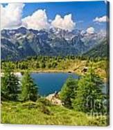 Doss Dei Gembri Lake In Pejo Valley Canvas Print